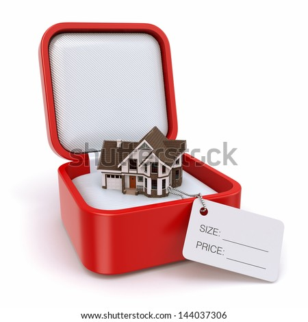 Gift box with house. Real estate concept. 3d