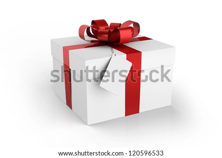 gift box with note isolated on white background