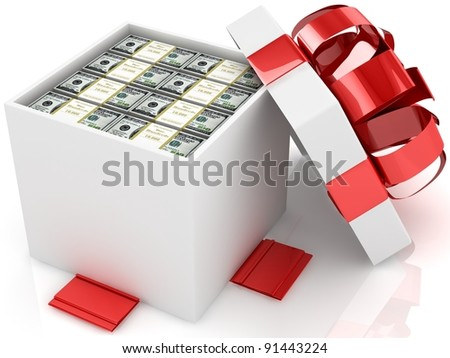 Gift box with packs of 100 dollar banknotes