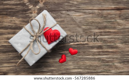 gift box with red fabric hearts ...