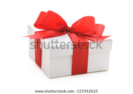Gift box with red ribbon and bow on white background