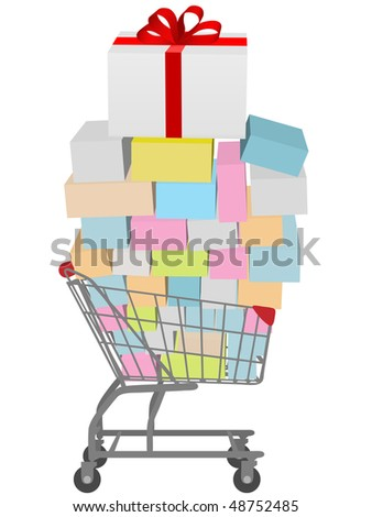 Gift box with red ribbon bow on shopping cart full of gifts to buy.
