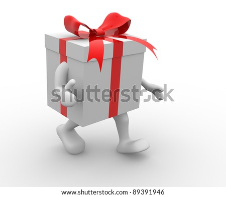 Gift box with red  ribbon. 3d render illustration