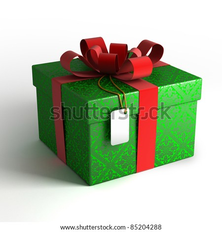 Gift box with red ribbon, green wrapping and tag on white background with isolation path included in 3D illustration