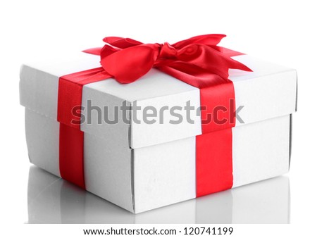 gift box with red ribbon, isolated on white