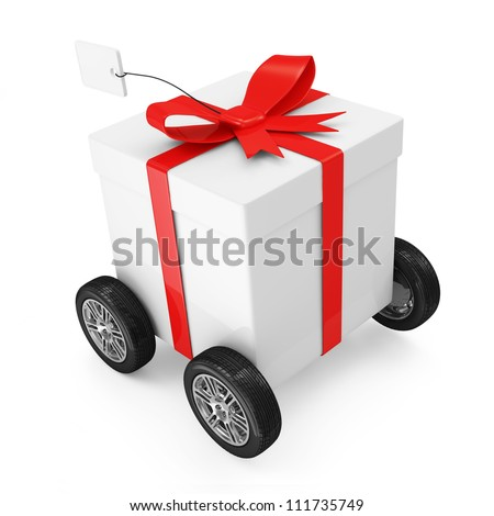 Gift Box with Red Ribbon on wheels isolated on white background