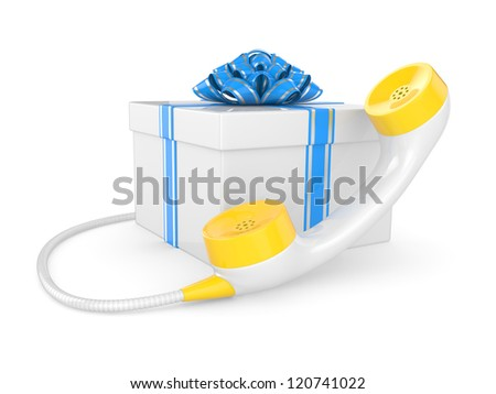 gift box with retro phone tube. 3d illustration on a white