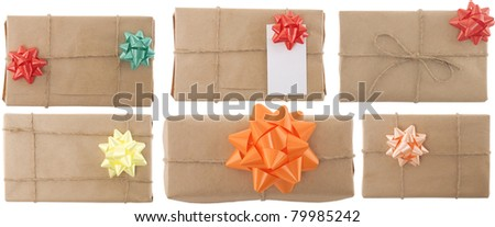 gift box with ribbon and blank label on white background