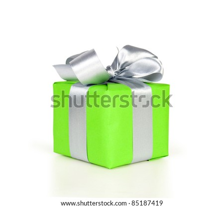 gift box with ribbon and bow isolated on white