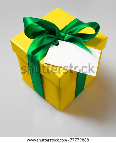 Gift box with ribbon and empty label