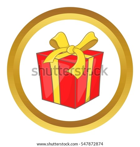 Gift box with ribbon bow in cartoon style isolated on white background  illustration #547872874
