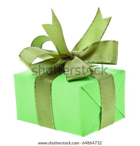 gift box with ribbon bow isolated on white