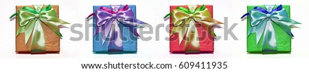 Gift box with ribbon, isolated on white background #609411935