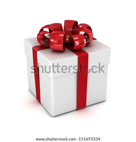 gift box, with ribbon like a present. over white background 3d illustration.