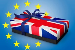 Gift box with Silk ribbon and UK Fag concept . Brexit concept