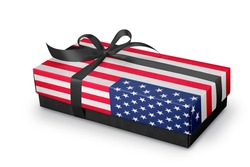 Gift box with Silk ribbon and usa Fag concept .