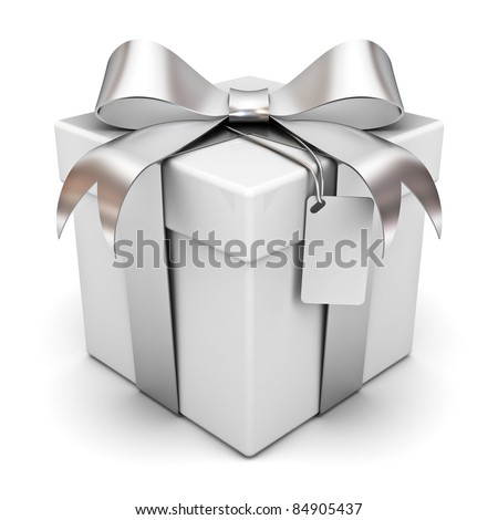 stock photo : Gift box with silver ribbon bow and blank tag isolated on white background