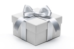 Gift box with silver ribbon bow isolated on white background.