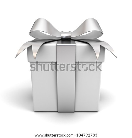 Gift box with silver ribbon bow isolated on white background