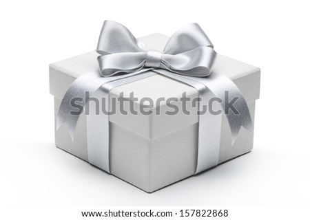 Gift box with silver ribbon bow isolated on white background. - stock photo