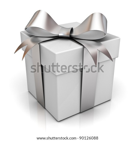 Gift box with silver ribbon bow isolated on white background with reflection