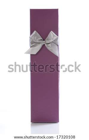 gift box with silver ribbon isolated on white