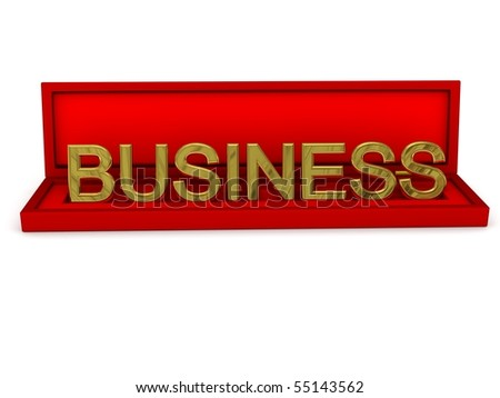 """Gift box with word """"business"""". 3d rendered image"""