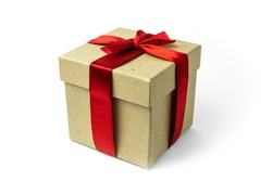 Gift box wrapped in recycled paper with red ribbon on a white background