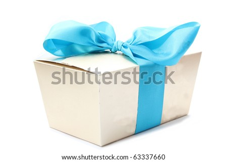 Gift boxe with ribbon  isolated on a white background