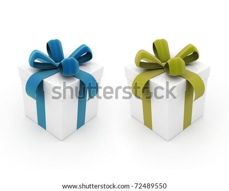 Gift boxes blue and yellow