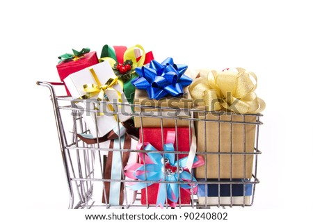 gift boxes cart, many of greetings present boxes in a cart.