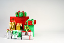 Gift Boxes in The Colors of Christmas
