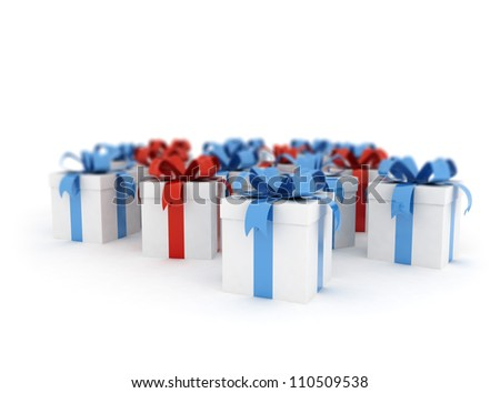 gift boxes over white background 3d