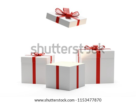 gift boxes presents boxes 3d-illustration with bow and ribbon