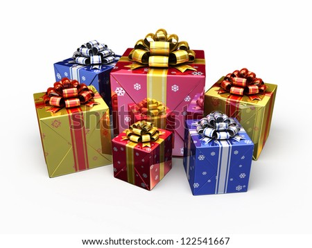 Gift Boxes render (isolated on white and clipping path)
