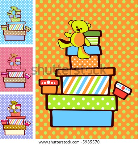 Gift boxes stacked on top of each other on festive bright background in variety of colours for boy and girl option - illustration
