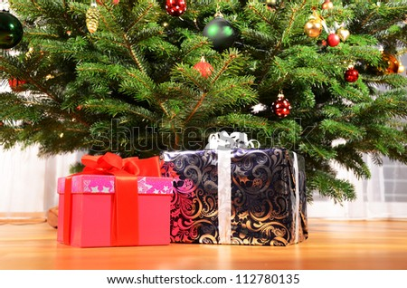 Gift boxes under the Christmas tree
