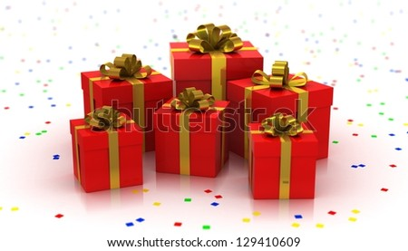 Gift Boxes. White background