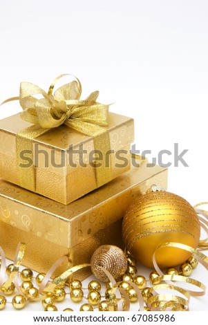 Gift boxes with christmas ornament on white background