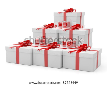 Gift boxes with red ribbon on white background. 3D model