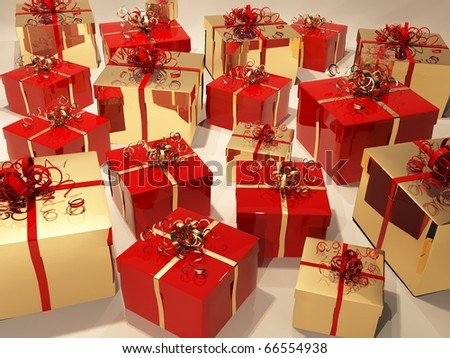 Gift boxes with  ribbon and wrapping