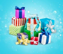 Gift  boxes with ribbons and bows on white background