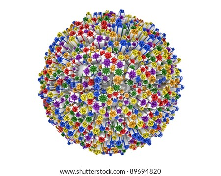 Gift boxes with various color ribbons forming big sphere. Isolated on a white background. - stock photo