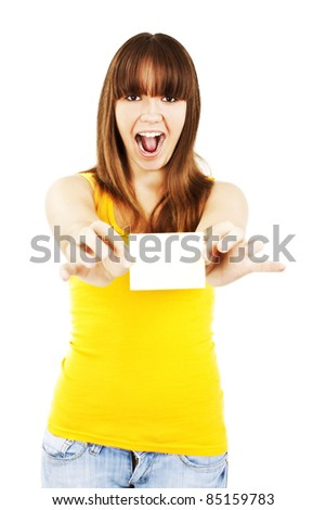 Gift card. Excited woman showing empty blank paper card sign with copy space for text.