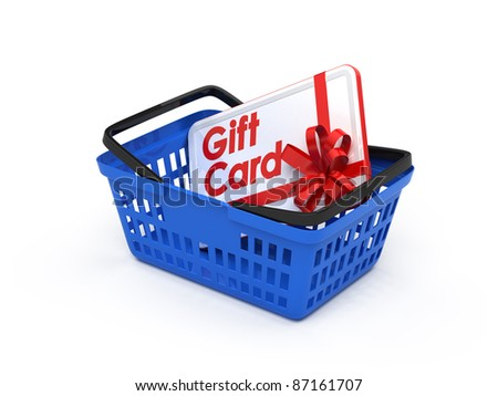 Gift card in a shopping basket