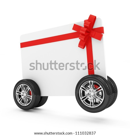 Gift Card on Wheels isolated on white background
