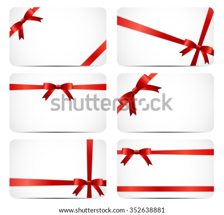 Gift Card Set with Red Ribbon and Bow. illustration