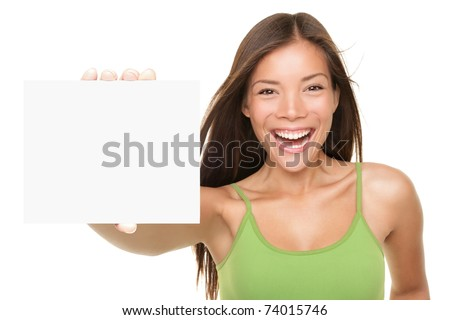 Gift card sign woman. Excited young female showing empty blank paper note copy space. Fresh beautiful multi-ethnic Asian Caucasian female model isolated on white background. Focus on sign AND model