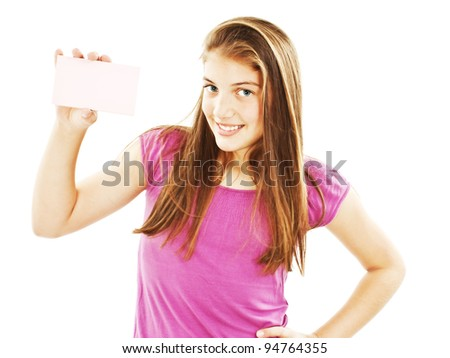 Gift card sign woman. Excited young female showing empty blank paper note copy space. Isolated on white background