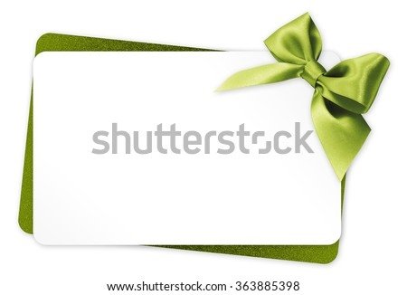 gift card with green ribbon bow Isolated on white background #363885398